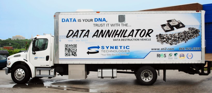 The DDV truck engages in mobile data destruction at a local business