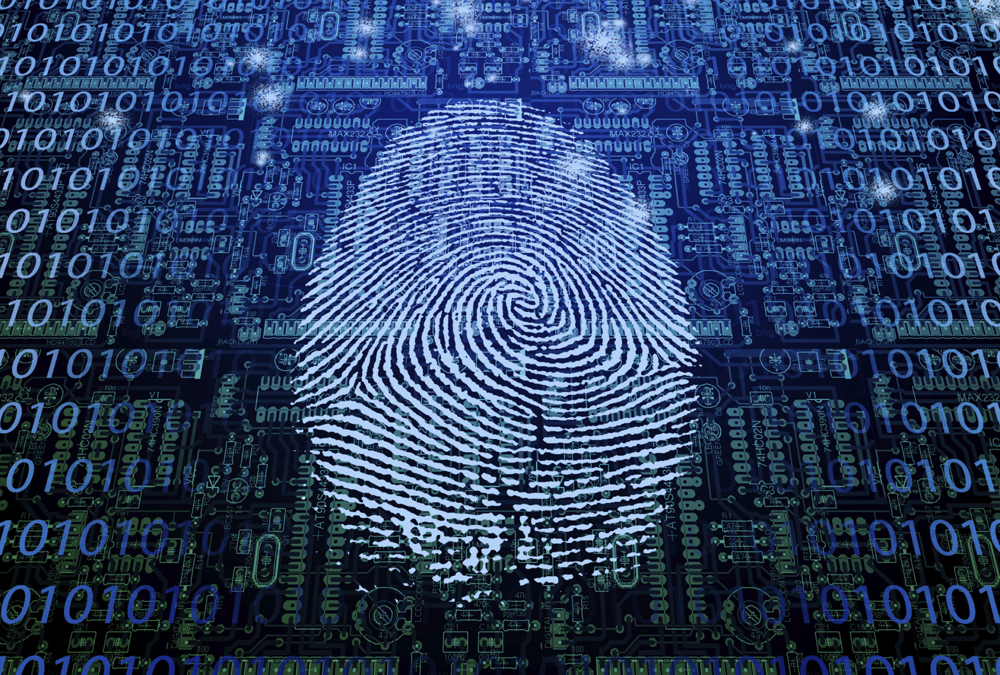 a thumbprint serves as a data protection device on a digital device